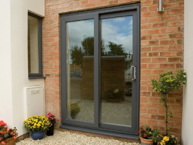 Conventional patio door in anthracite grey